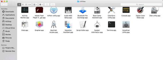 Utilities Area on Mac