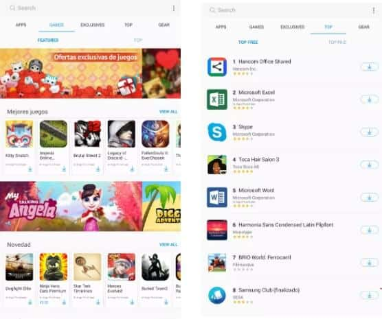 Galaxy Apps home page - Google Play Store alternative for Samsung devices