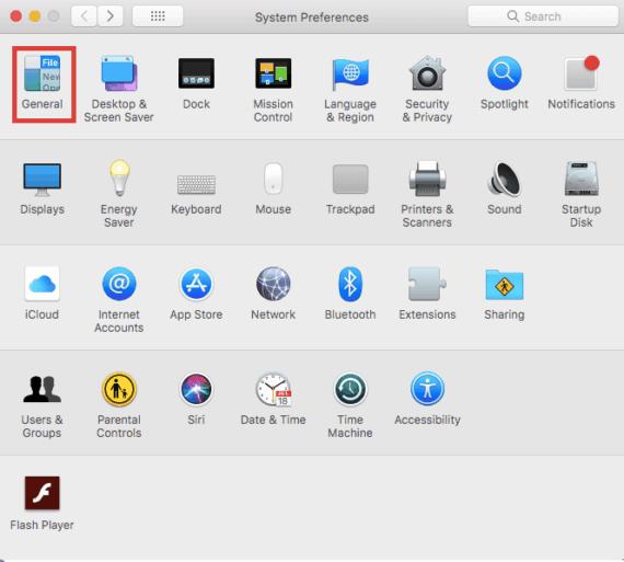 General Settings on MacOS