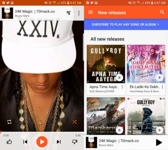 Google Play Music with track on the left and album on the right