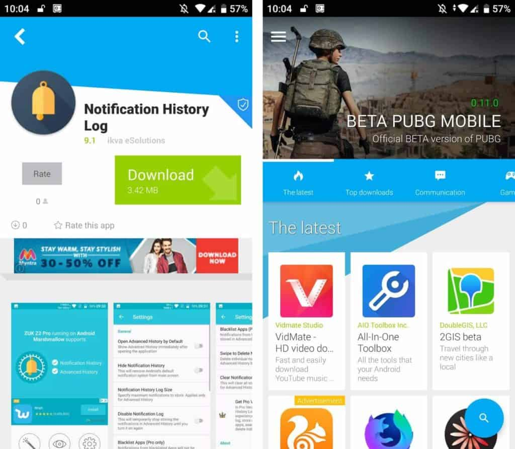 Notification History Log in UpToDown app store