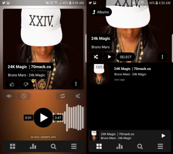 PowerAMP Music Player with track on the left and album on the right