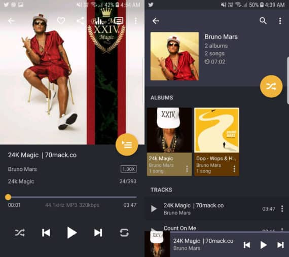 Pulsar Music Player app with track on the left and album on the right