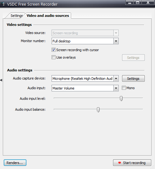 VSDC Screen recorder additional settings