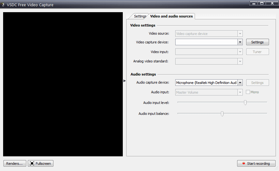 Video Capture additional settings