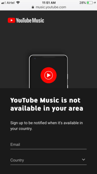 YouTube Music Not Available in your Area Message