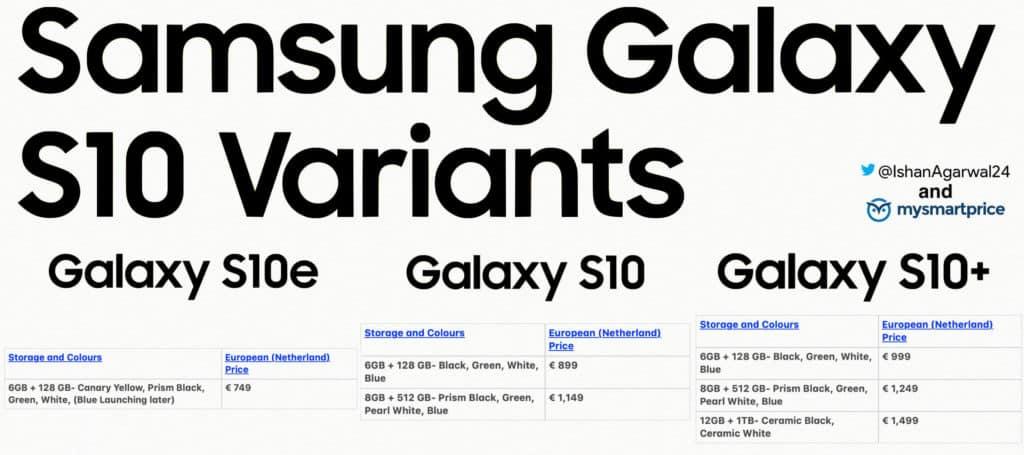 Galaxy S10 series pricing
