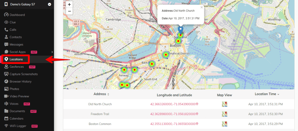 SpyMyFone - Location access