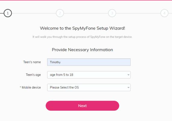 SpyMyFone Setup Wizard