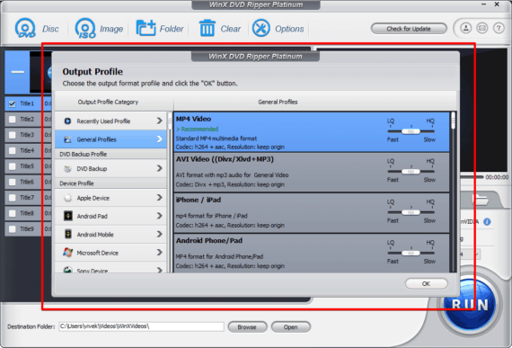 WinX DVD Ripper platinum output profiles