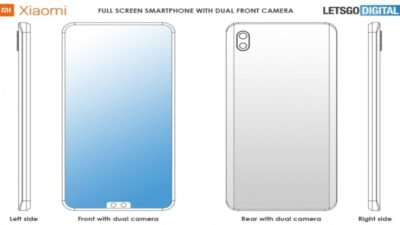 Xiaomi smartphone patent with dual selfie camera and notch