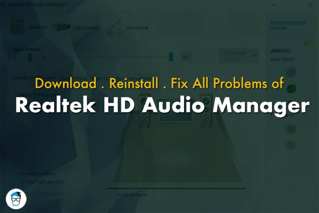 Solving Problems of Realtek HD Audio Manager