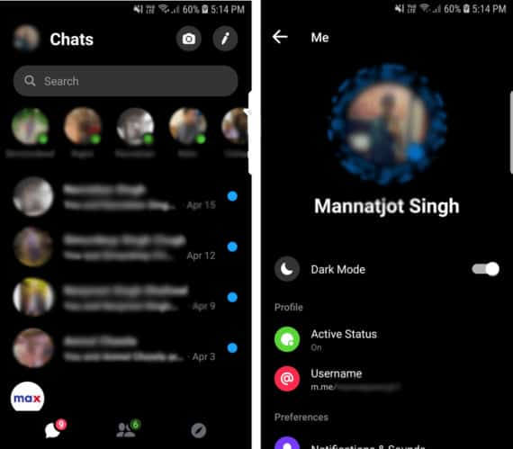 Hangouts Alternative Facebook Messenger with Recent Chats on the Left and Settings on the Right
