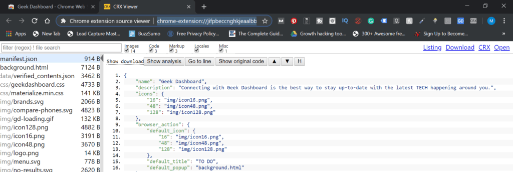 Viewing Source Code of Chrome Extension