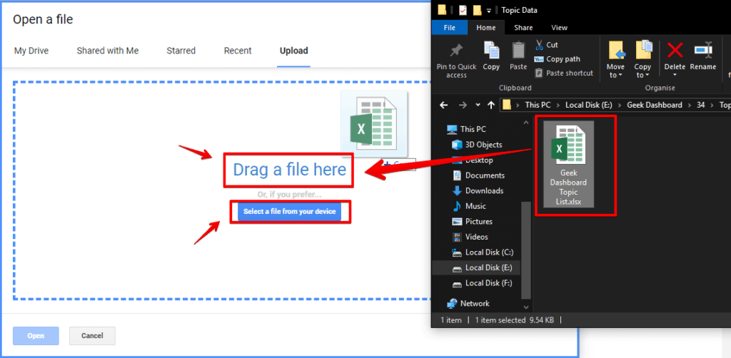 Drag and drop Excel files to Google Sheets