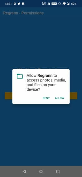 Allow permissions to app (Android)
