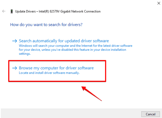 Browse my computer for the driver software