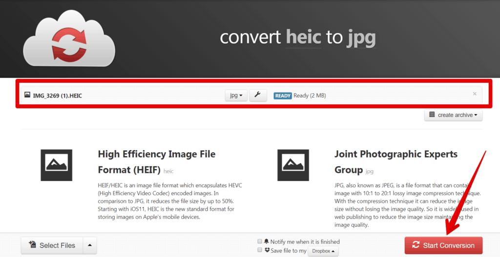 HEIC to JPG image converter online