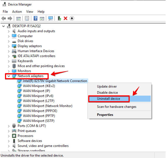 Uninstall the Network Driver