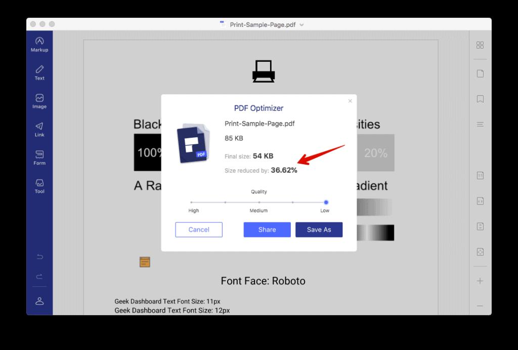 Compress PDF using PDFelement