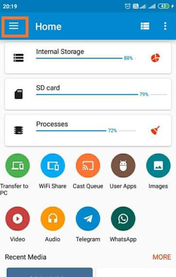 Hamburger menu in ES File Explorer app
