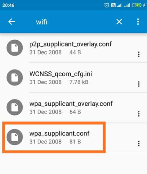 open wpa_supplicant.conf file using a text editor to find saved WiFi passwords