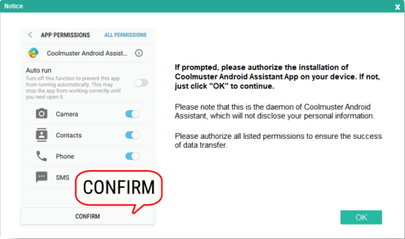 Accept all app permissions in Android smartphone