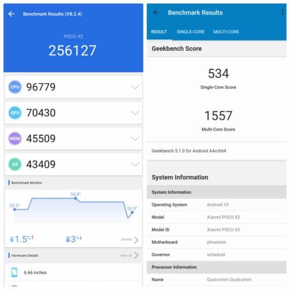 Poco X2 benchmark scores