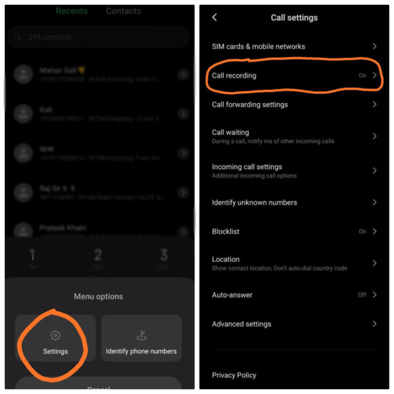 Steps to enable call recording