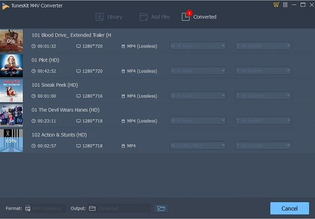 Converted Videos in TunesKit M4V Converter