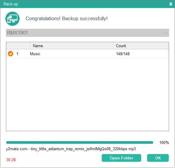Coolmuster android assistant backup completed screen