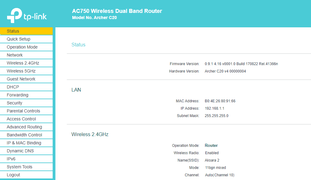 Wifi router homepage