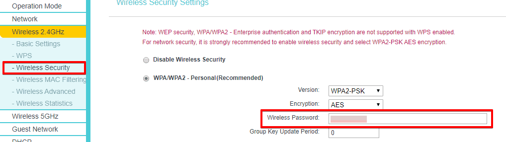 View router password in Wireless security page