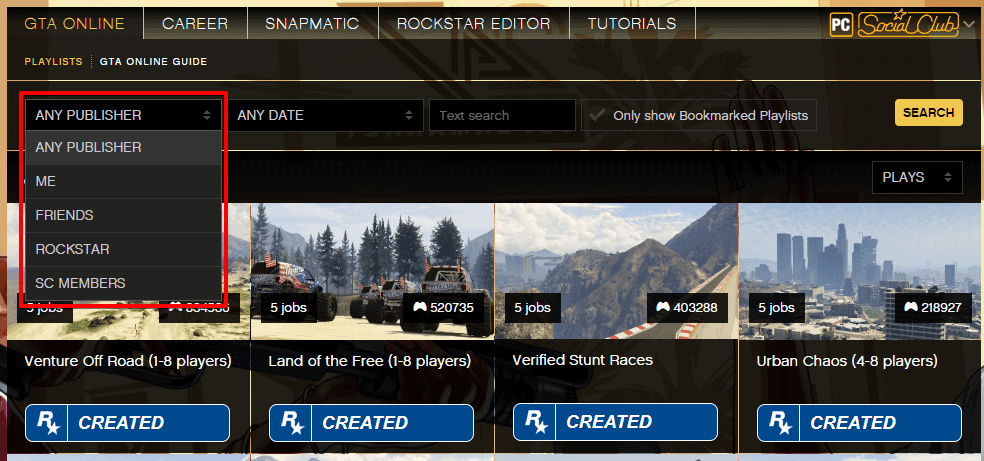 GTA 5 custom game playlist