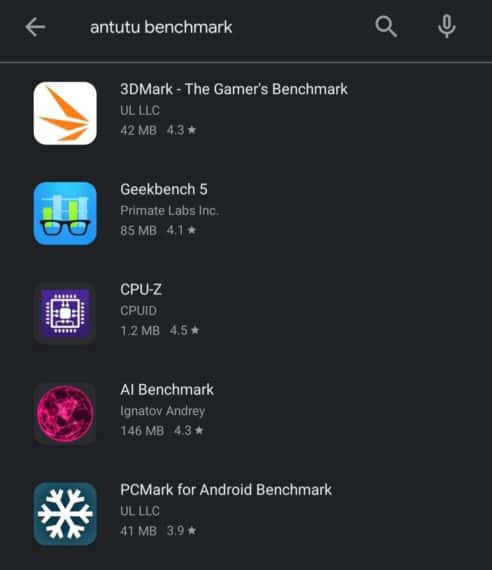 """Search results for """"antutu benchmark"""" on Play Store"""