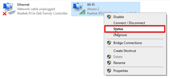 Wifi Status under the network connections page