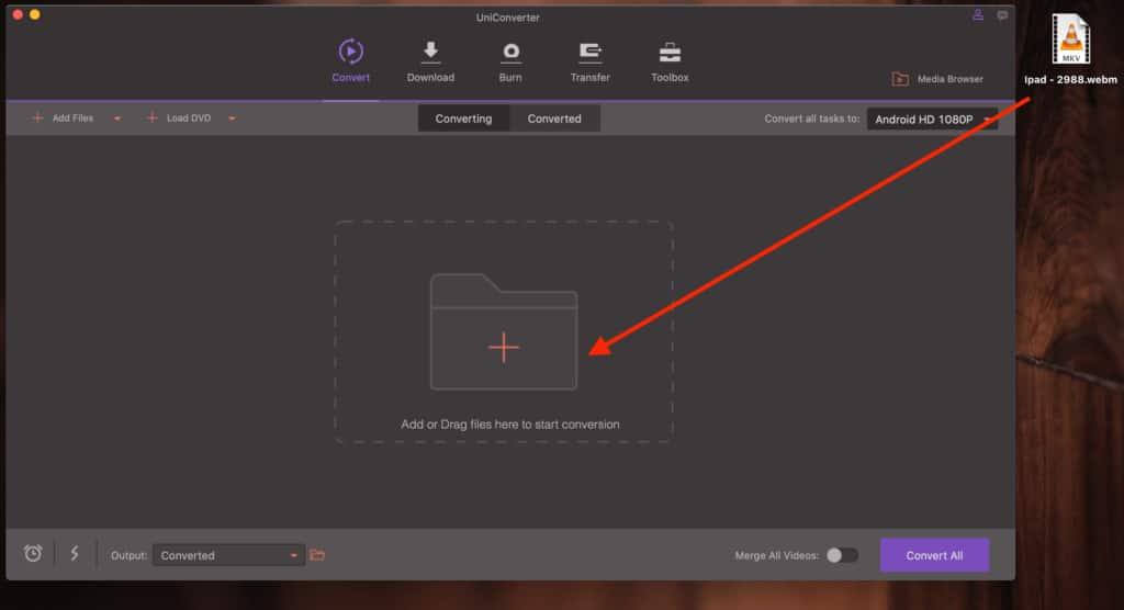UniConverter for Mac Drag Video