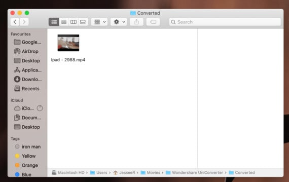 UniConverter for Mac Output Folder