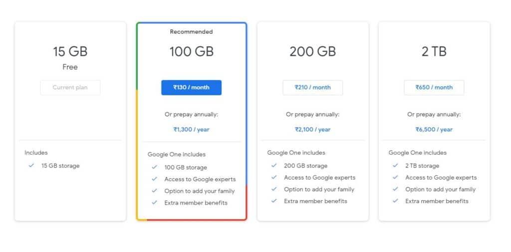 Google One membership plans