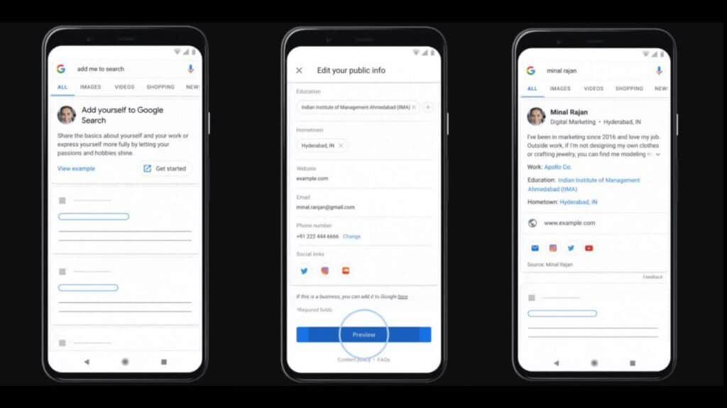 Create Virtual Visiting Card in Google