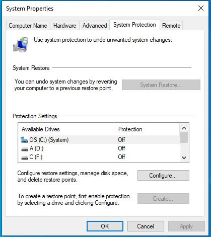 System Restore Windows