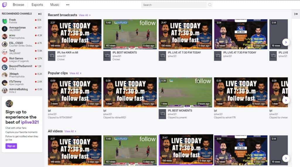 Twitch IPL 2020 Streams