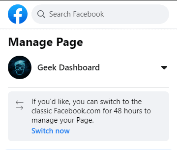 Switching option from new to classic Facebook.