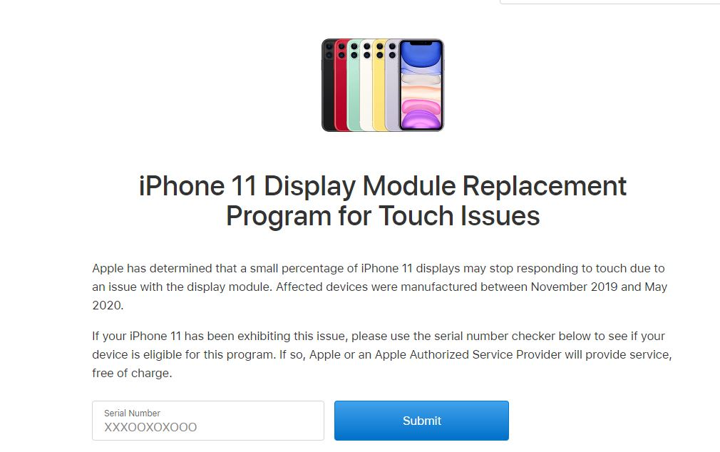 iPhone 11 screen replacemnet page