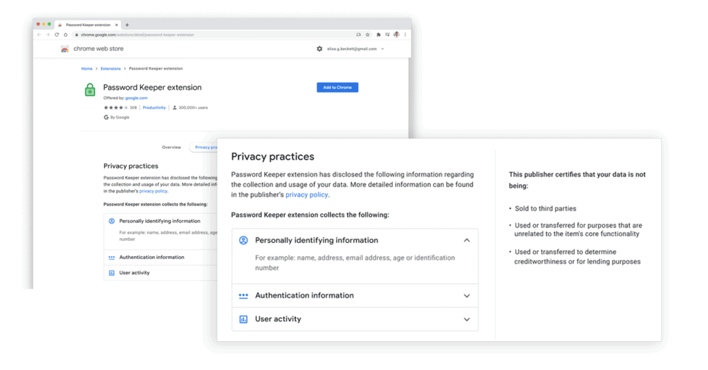 privacy practices announced for extension developers in Chrome Web Store