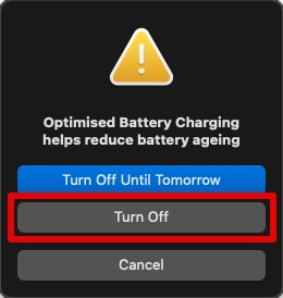 Turn Off Optimised Battery Charging