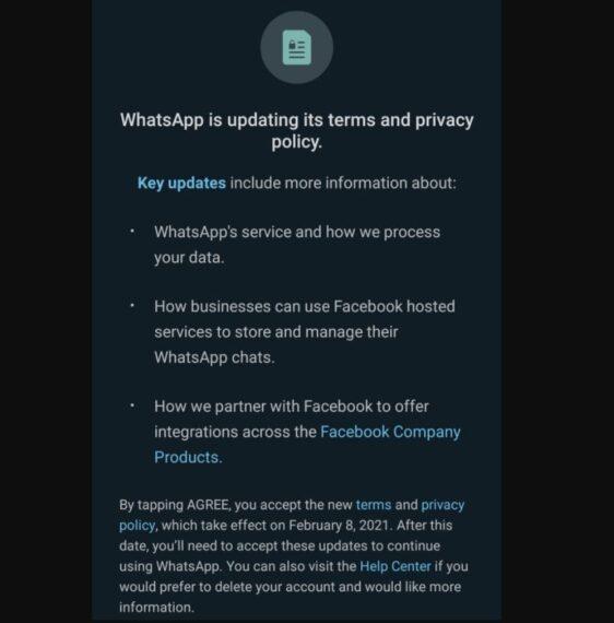 WhatsApp privacy notification
