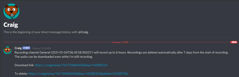Craig Bot Recording Links Message