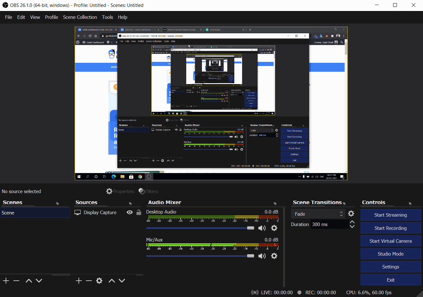 Using OBS Screen Recorder to record Discord Audio