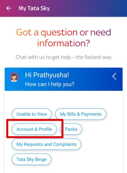 Account & Profile - Tata Sky Temporary Account Suspension